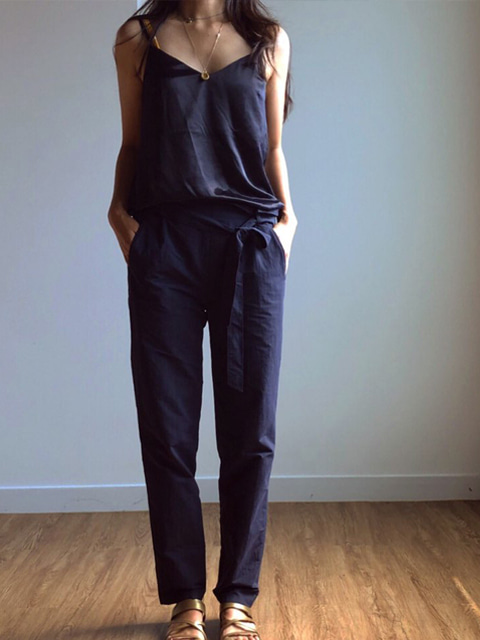 Nylon drawstring pants_Navy