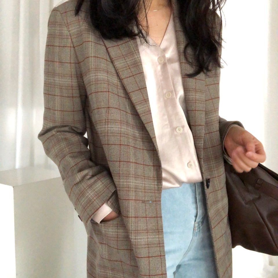 check single button blazer