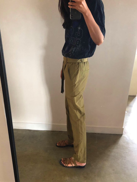 Nylon drawstring pants_olive