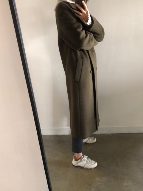 french cashmere long coat(khaki brown)
