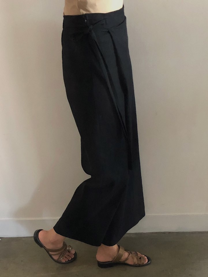 Linen wrap pants_black