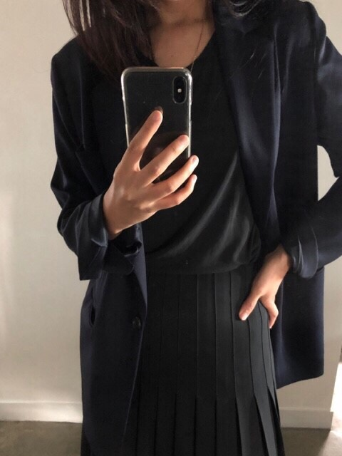 single button wool blazer