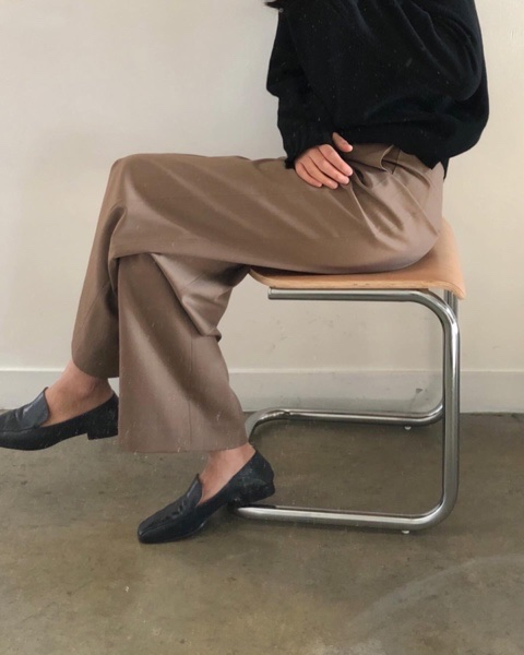 wool wide pants(beige)